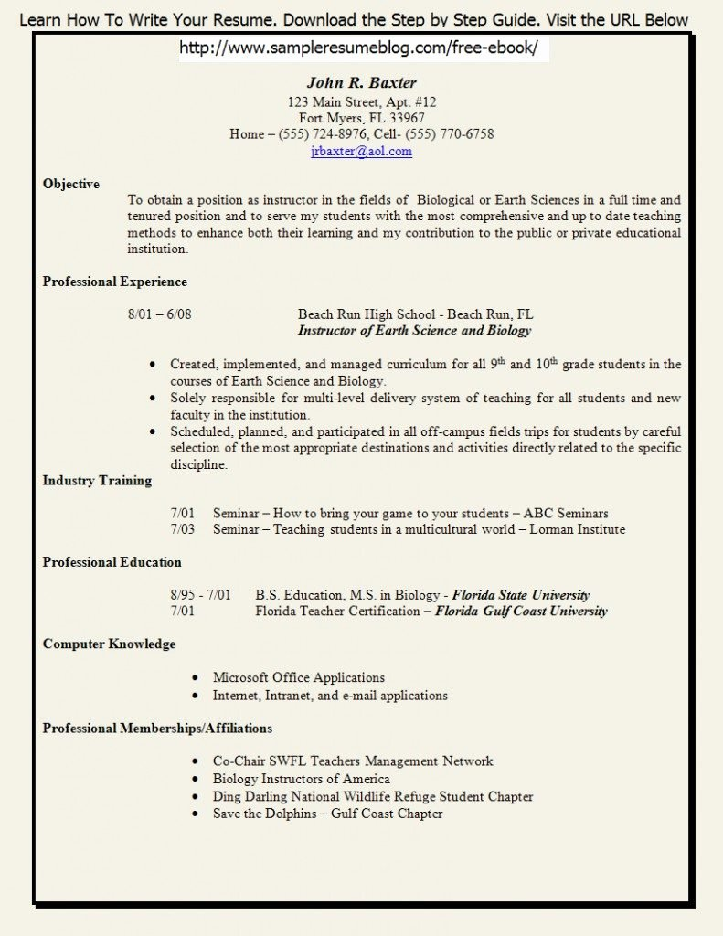 Free Download Teacher Resume Template Sample Fresher