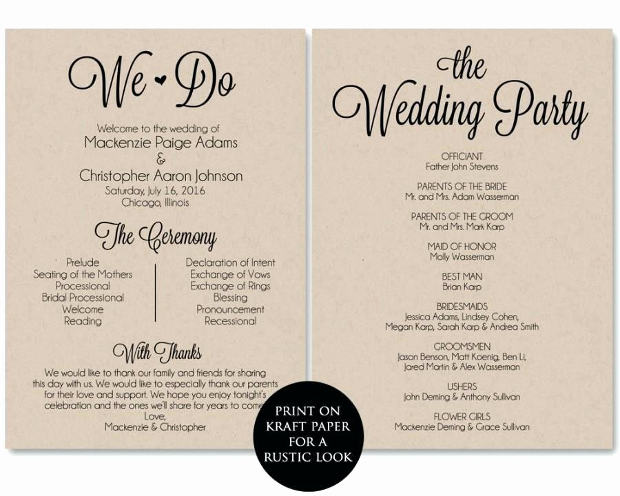 Free Downloadable Wedding Program Templates Template