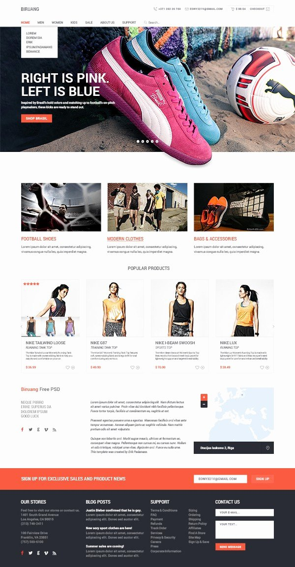 Free E Merce Website Template Psd