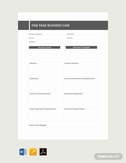 Free E Page Business Case Template Download 62 Notes
