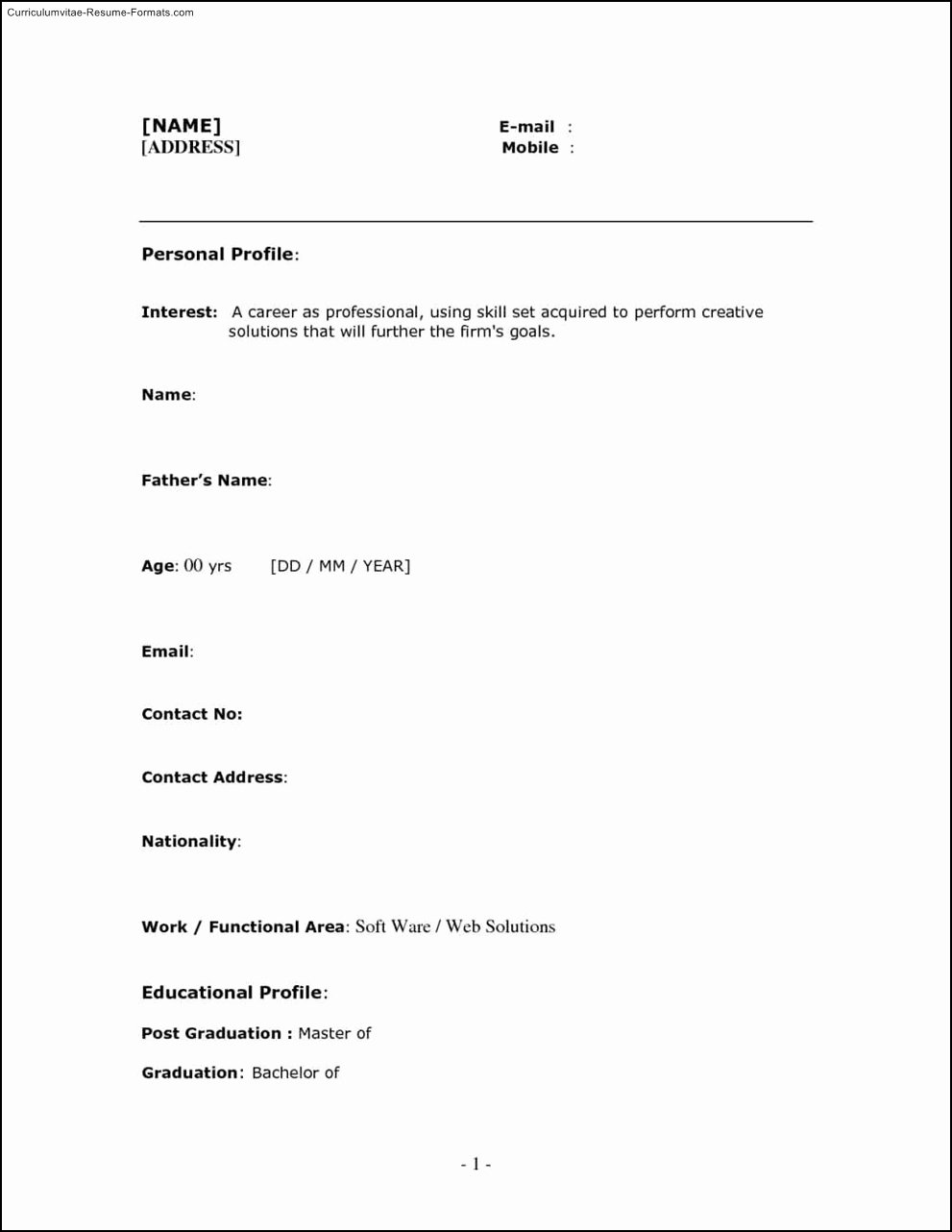 Free E Page Resume Templates Free Samples Examples