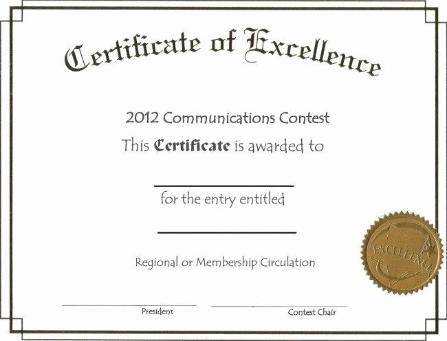 Free Editable Certificate Of Excellence Template Example