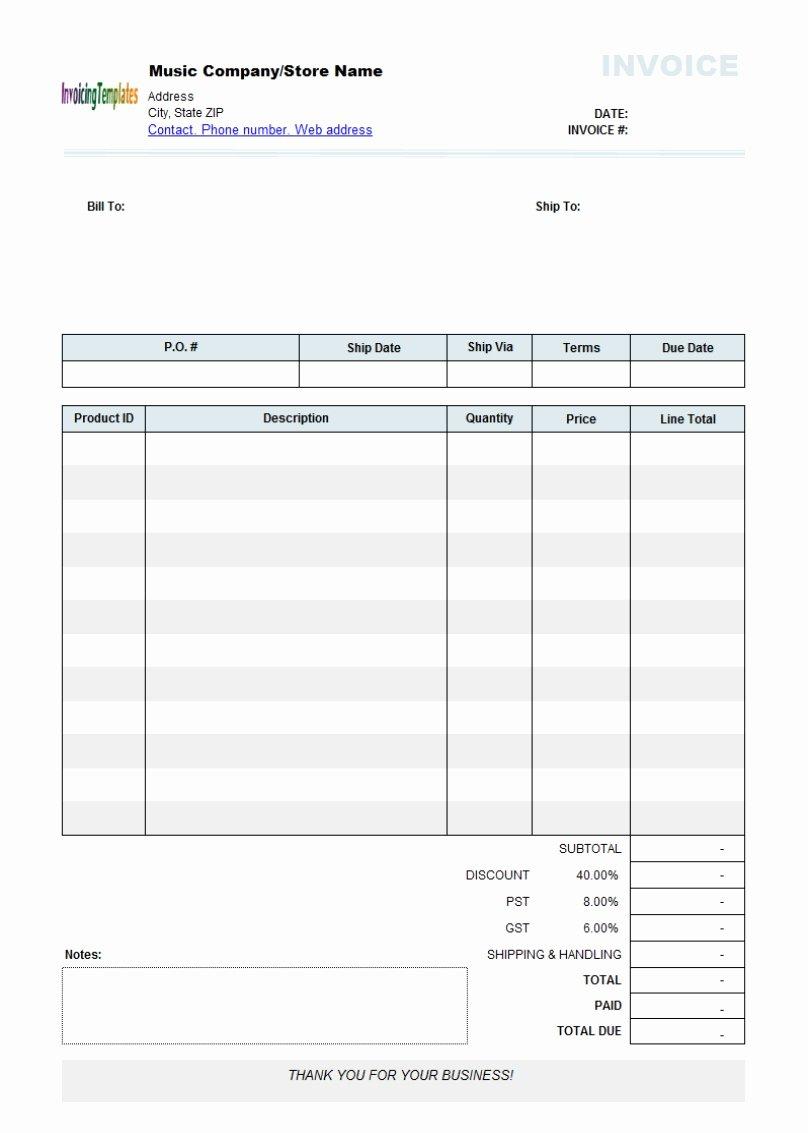Free Editable Invoice Template Invoice Template Ideas