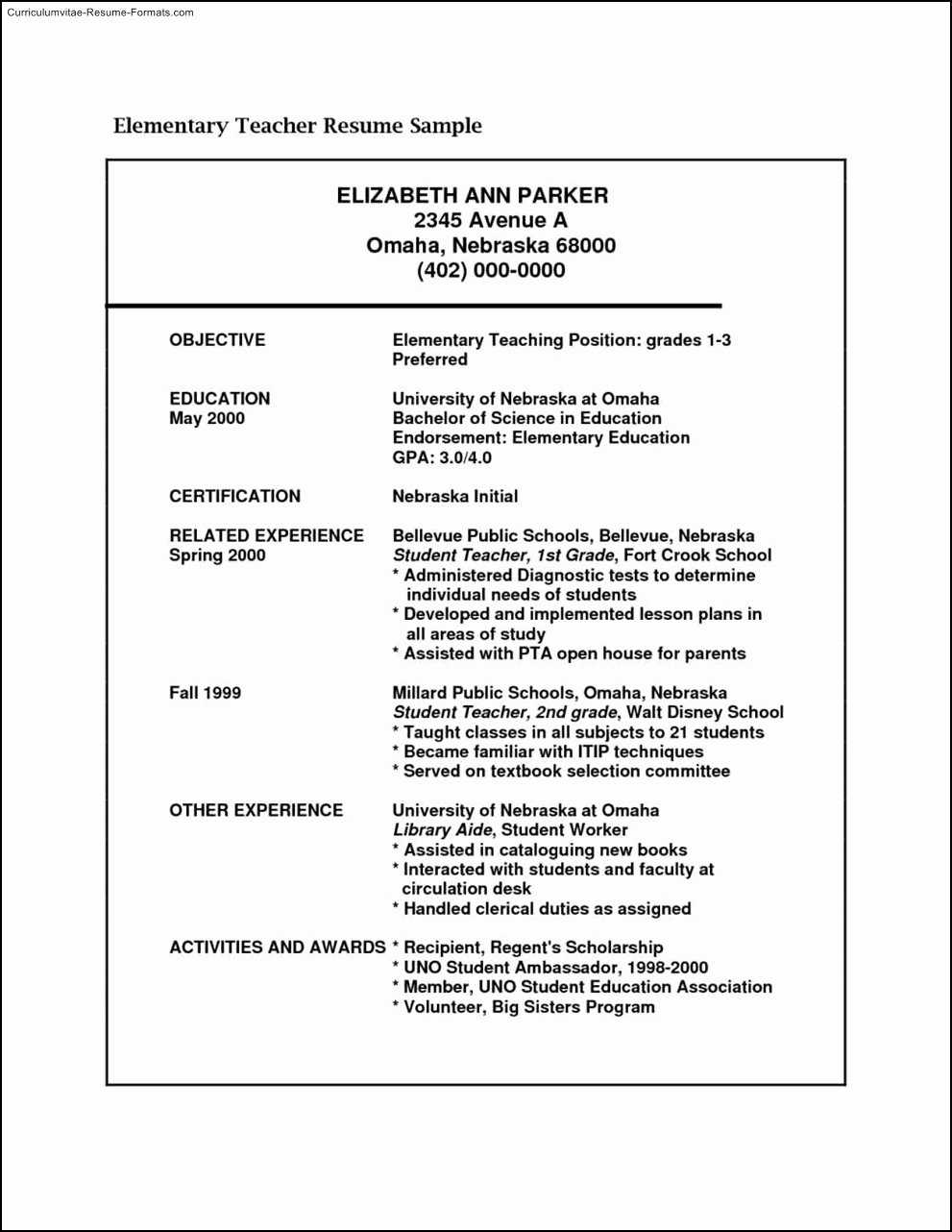 Free Elementary Teacher Resume Templates Free Samples