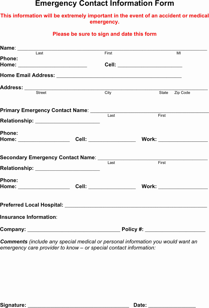 Free Emergency Contact form Pdf 18kb