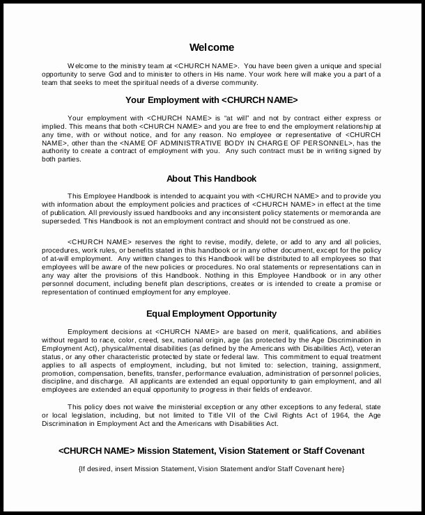 Free Employee Handbook Template Pdf Template Resume