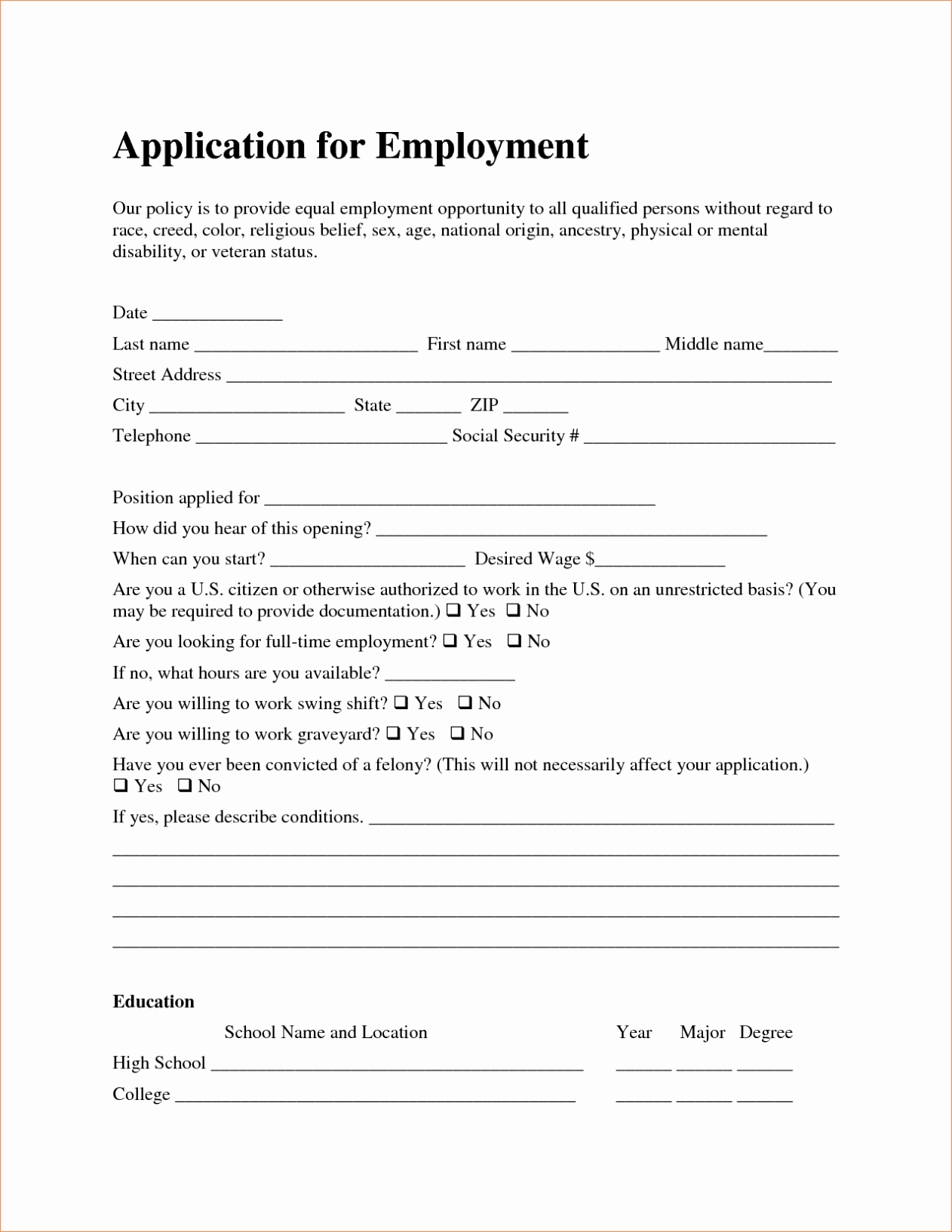 Free Employment Job Application form Template Sample