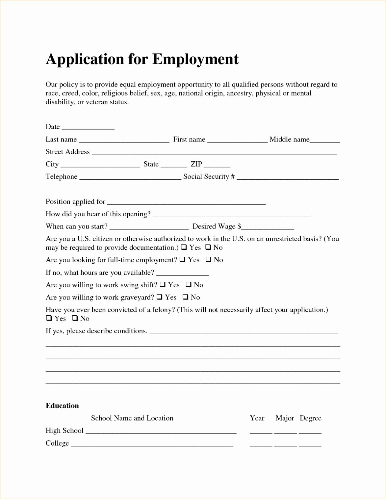 Free Employment Job Application form Template Sample