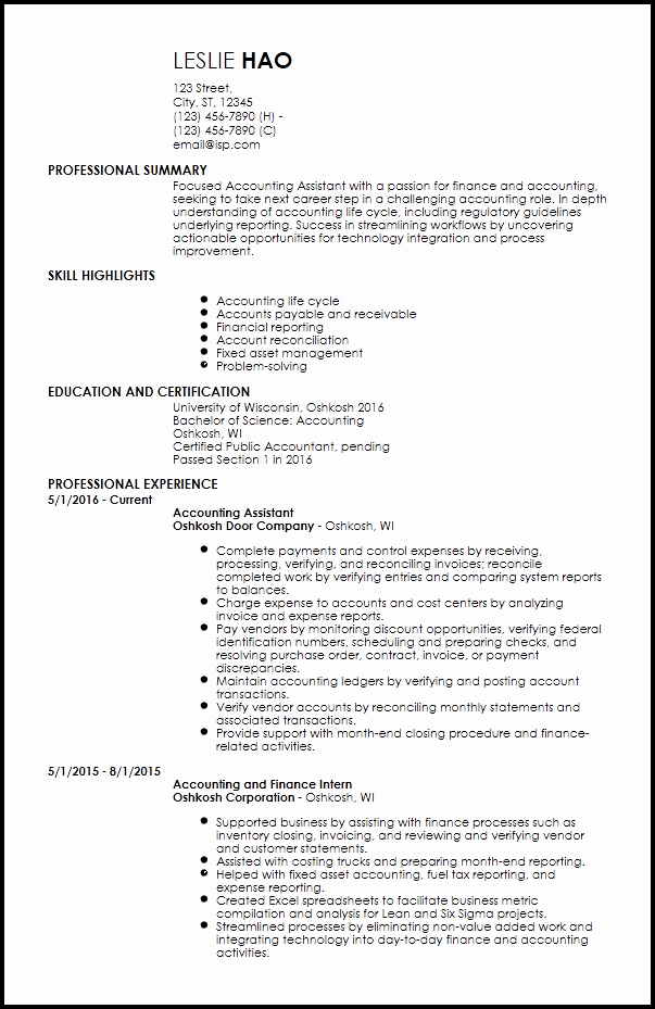 Free Entry Level Accounting & Finance Resume Templates