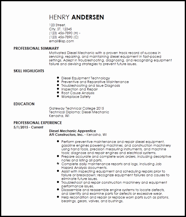 Free Entry Level Diesel Mechanic Resume Templates