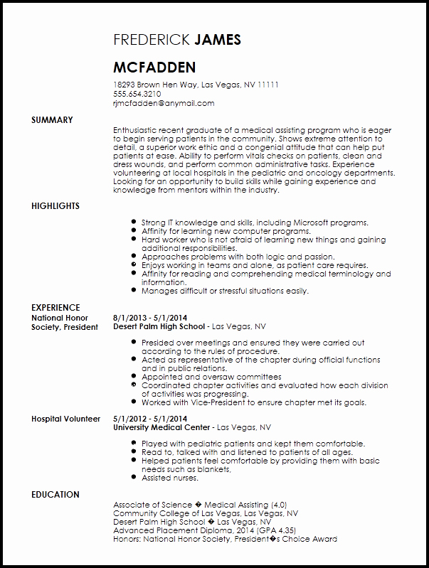 Free Entry Level Medical assistant Resume Template