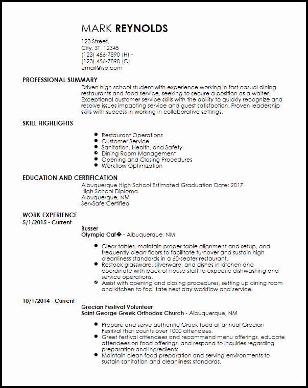 Free Entry Level Restaurant Resume Templates