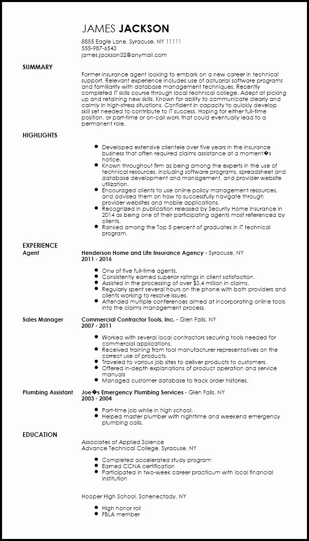 Free Entry Level Technical Support Specialist Resume