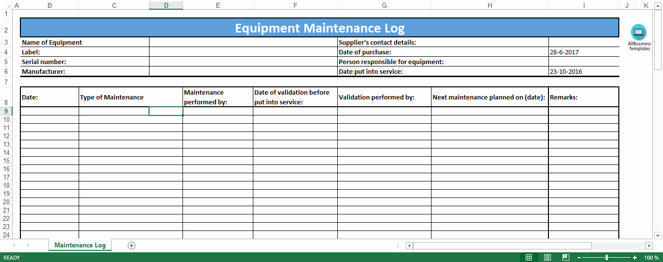 equipment maintenance log excel template