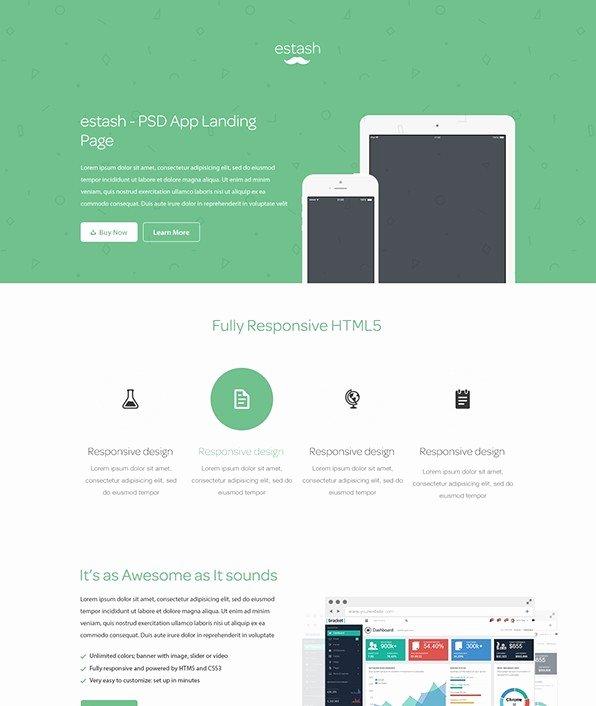 Free Estash App Landing Page Template Psd Titanui
