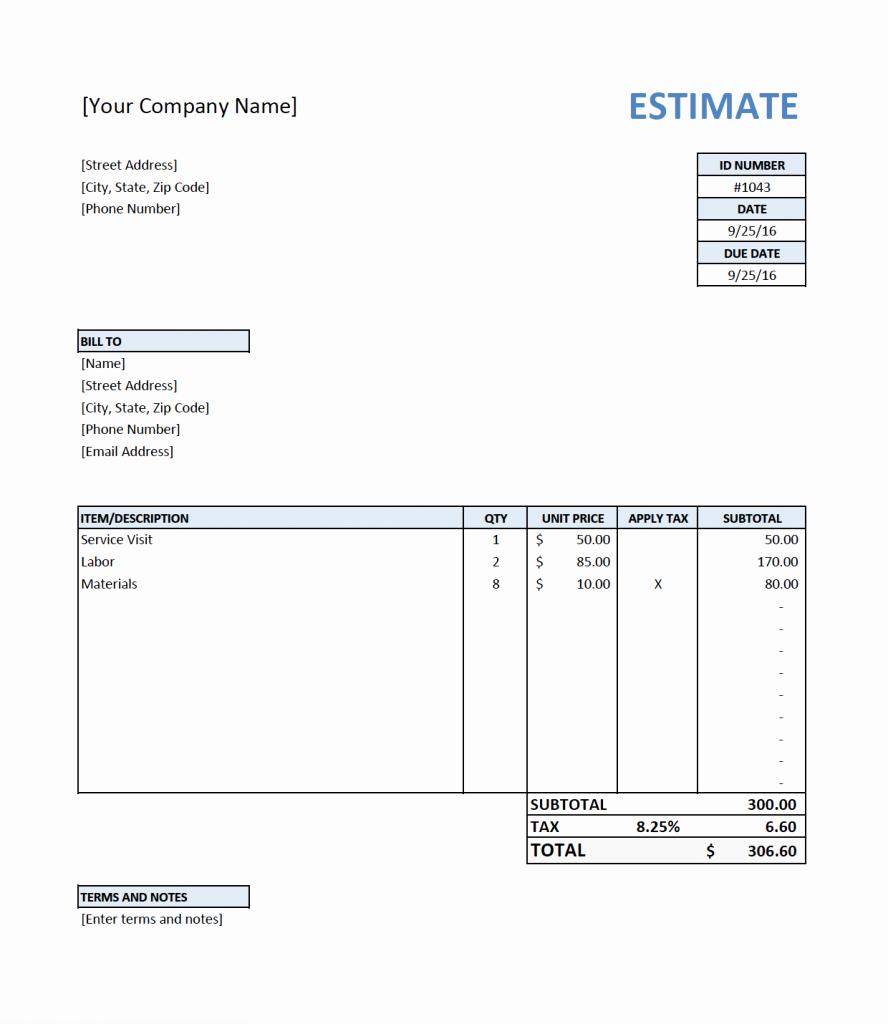 Free Estimate Template for Contractors