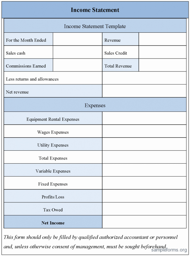 Free Excel In E Statement Template 2 Simple In E