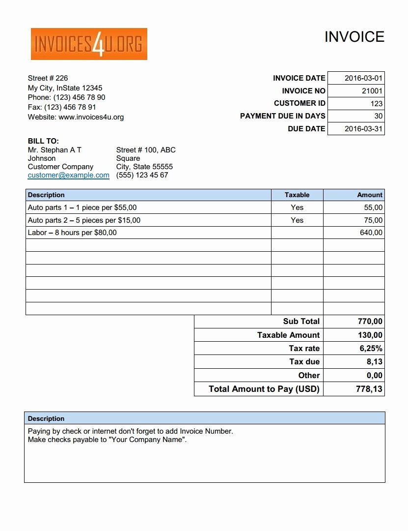 Free Excel Invoice Template Download Invoice Template Ideas
