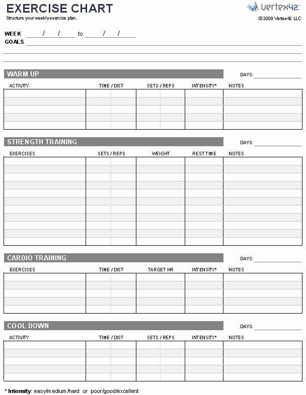 Free Exercise Chart or Ms Excel Use This Template to