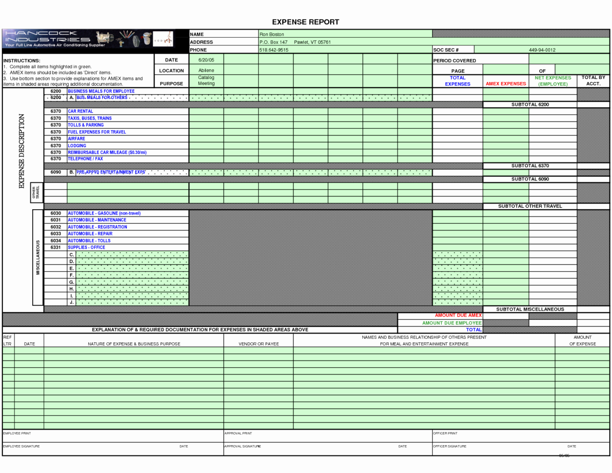 Free Expense Report form Pdf Credit Card Expense Report