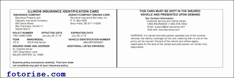 Free Fake Auto Insurance Card Template Car Insurance Card