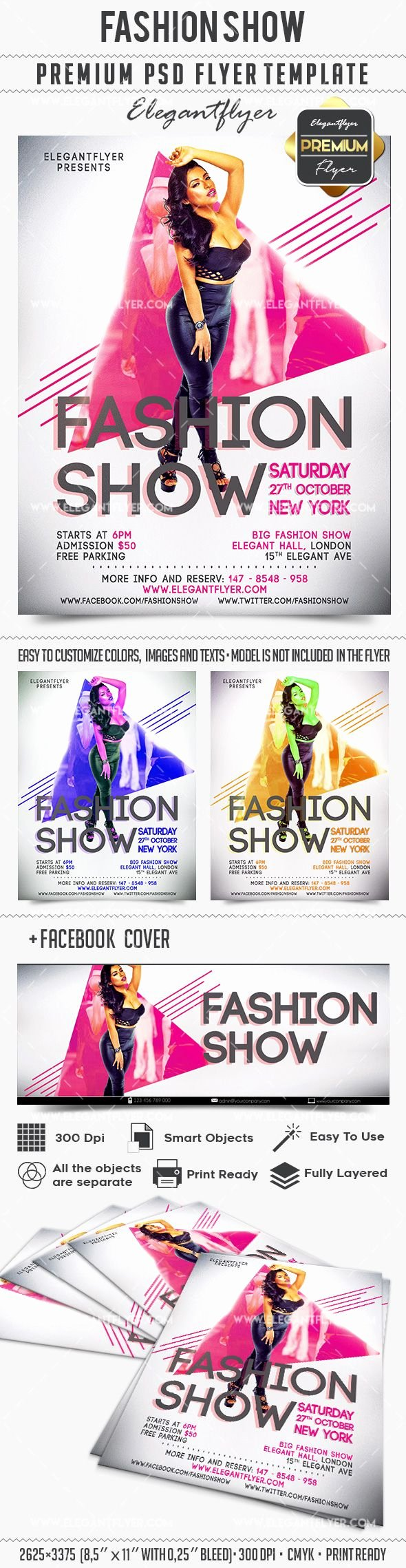 Free Fashion Show Cover Template Flyer Psd