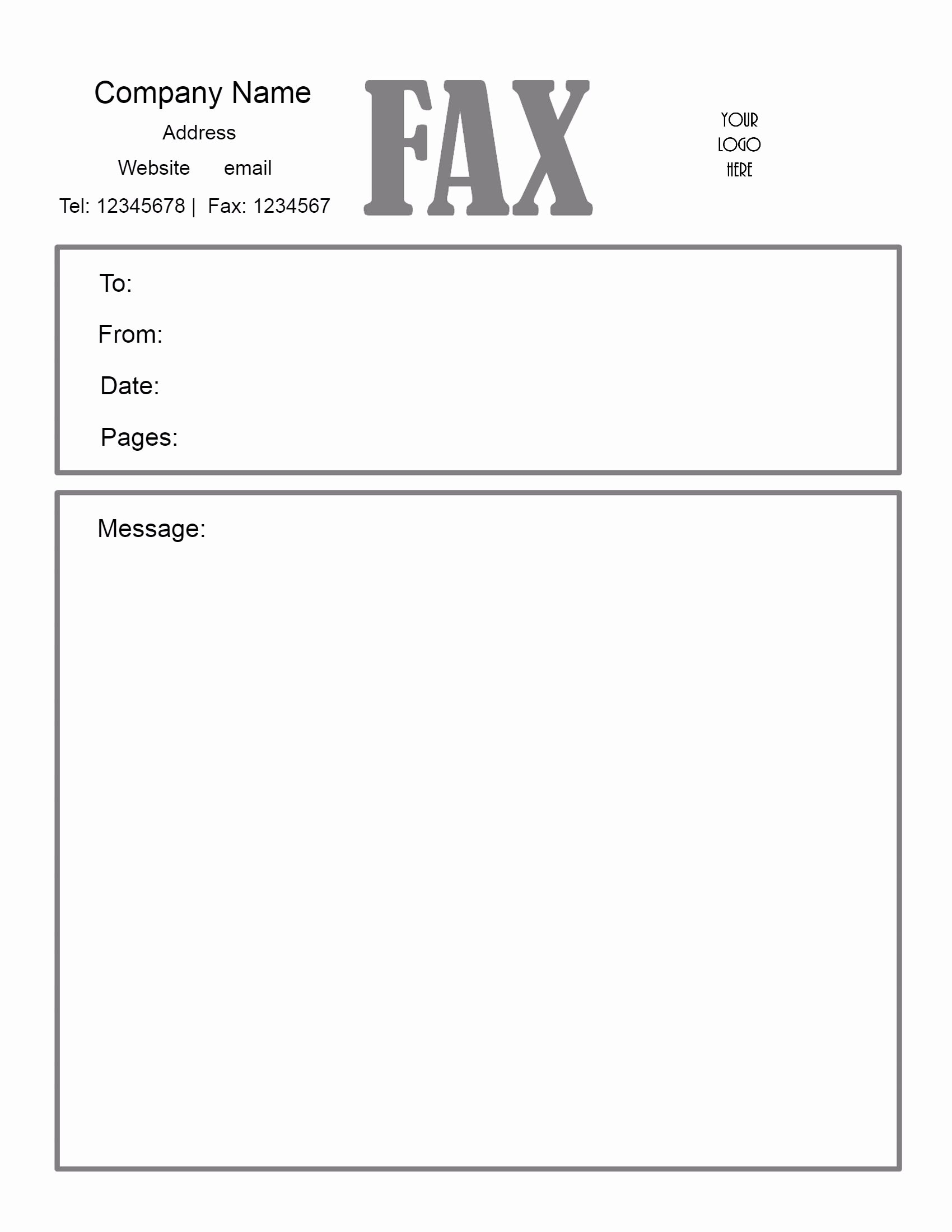 Free Fax Cover Letter Template