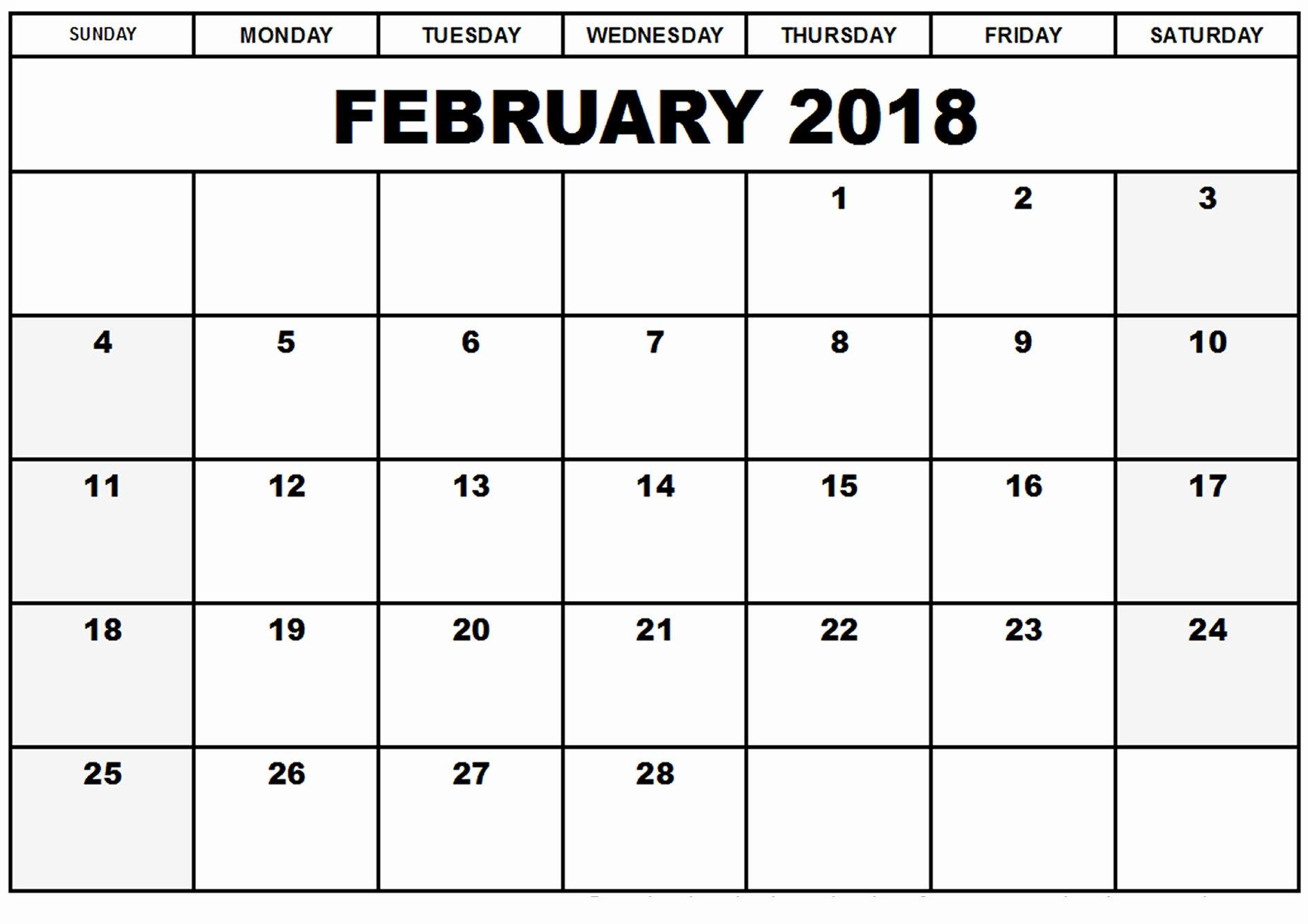 Free February 2018 Printable Calendar Template