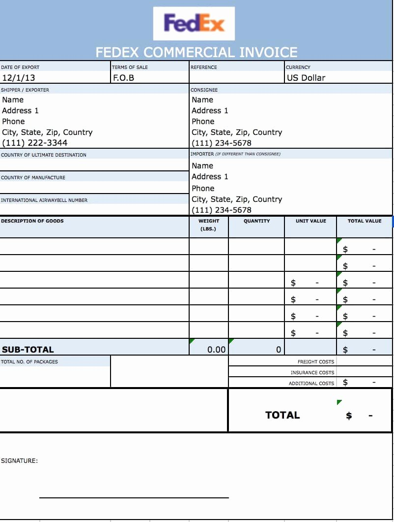 Free Fedex Mercial Invoice Template Microsoft Excel
