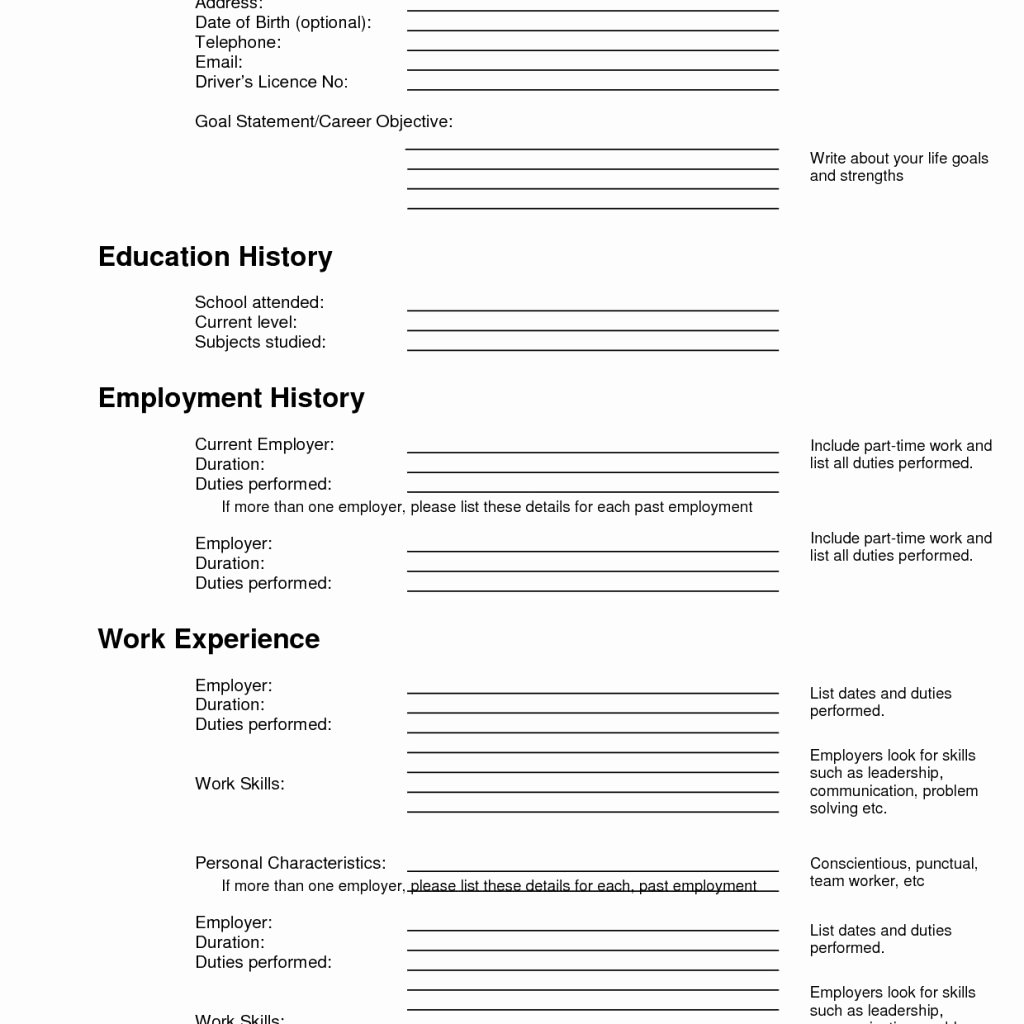 Free Fill Up Resume