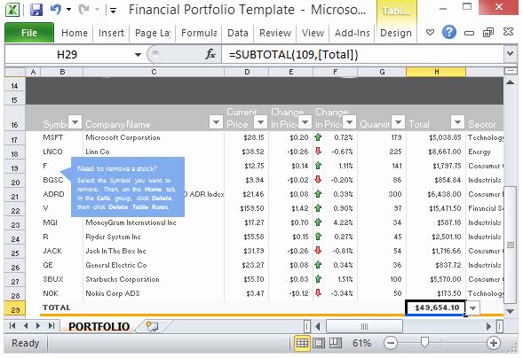 Free Financial Portfolio Template for Microsoft Excel 2013