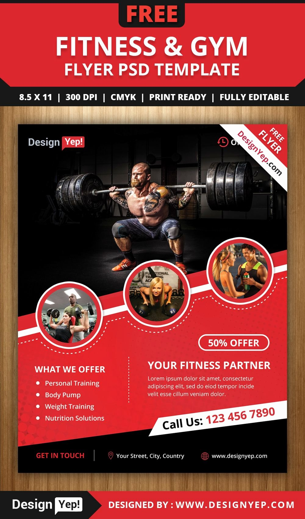 Free Fitness & Gym Flyer Psd Template