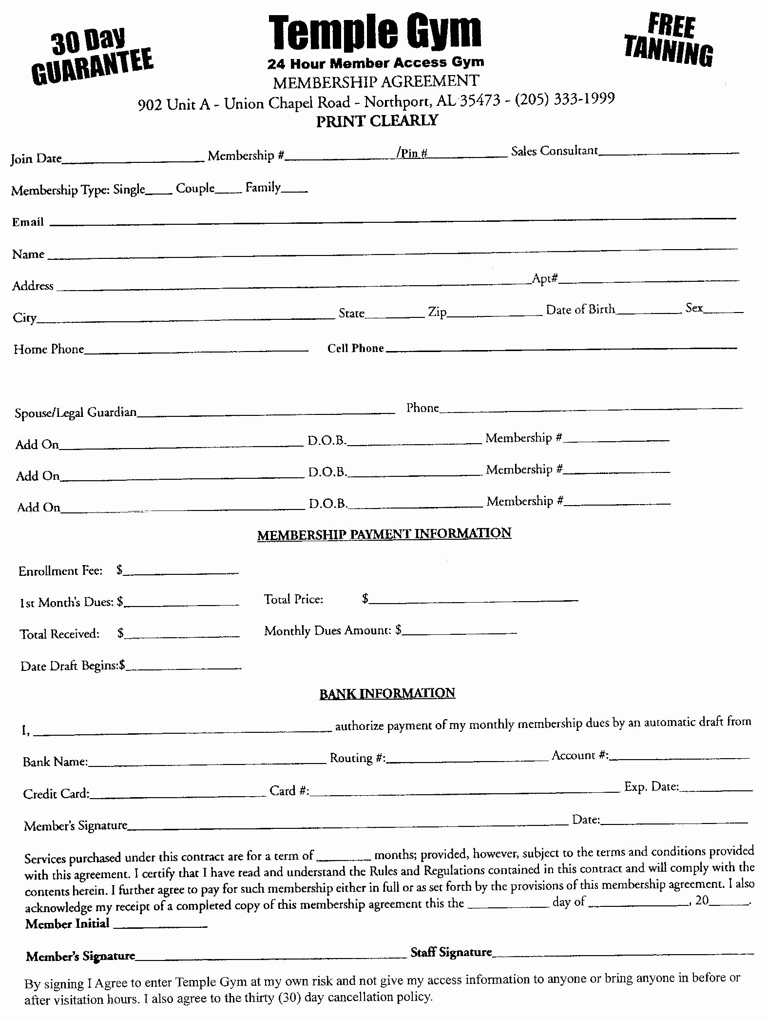 Free Fitness Center Legal Membership Waiver forms for Gyms and Fitness Centers