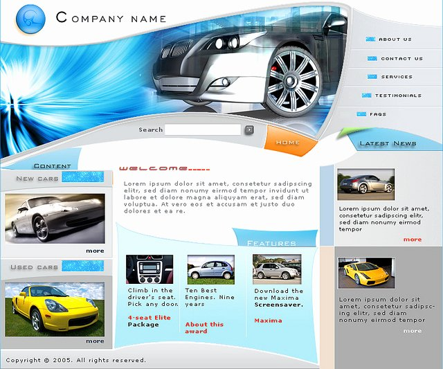 Free Flash Website Template Car S Site