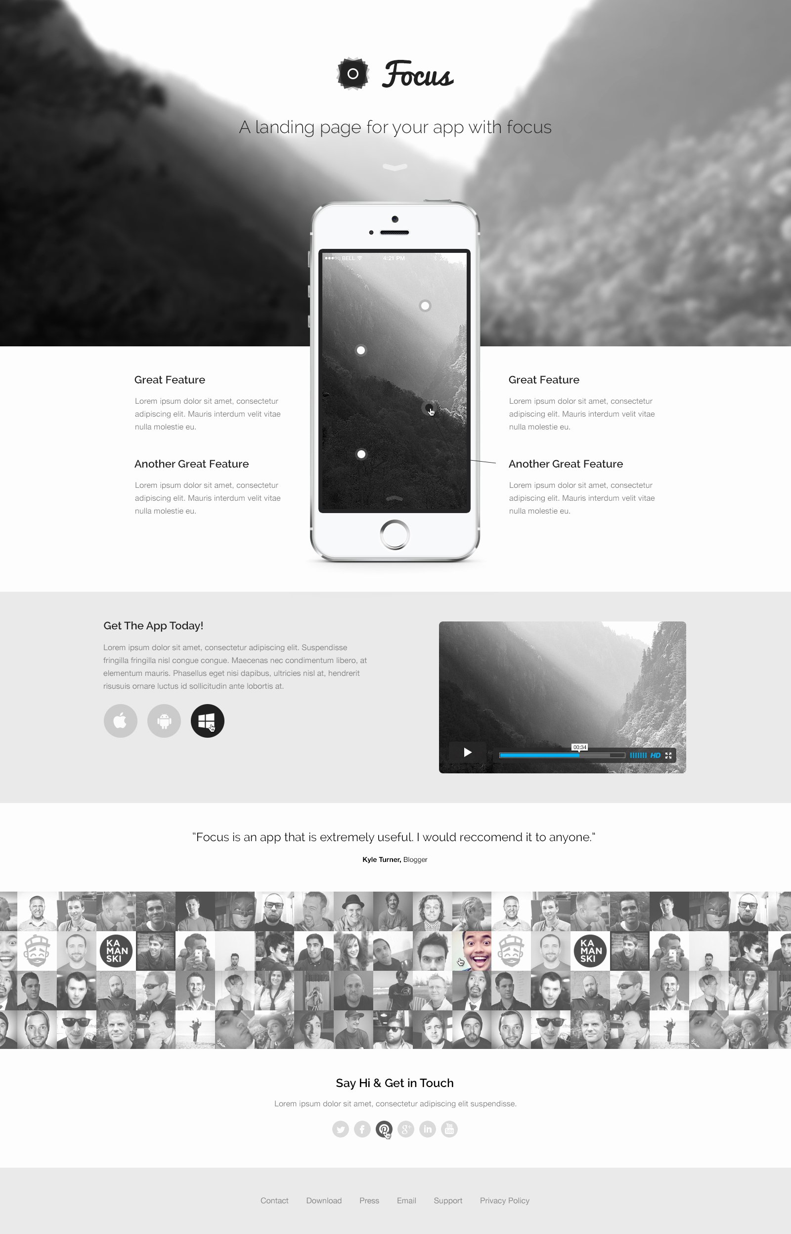 Free Focus A Responsive & Fashion Landing Page Template