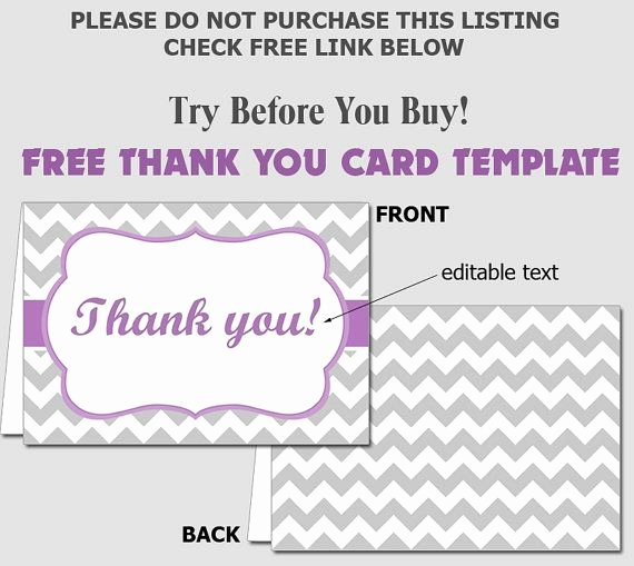 Free Folded Thank You Card Template Diy Editable