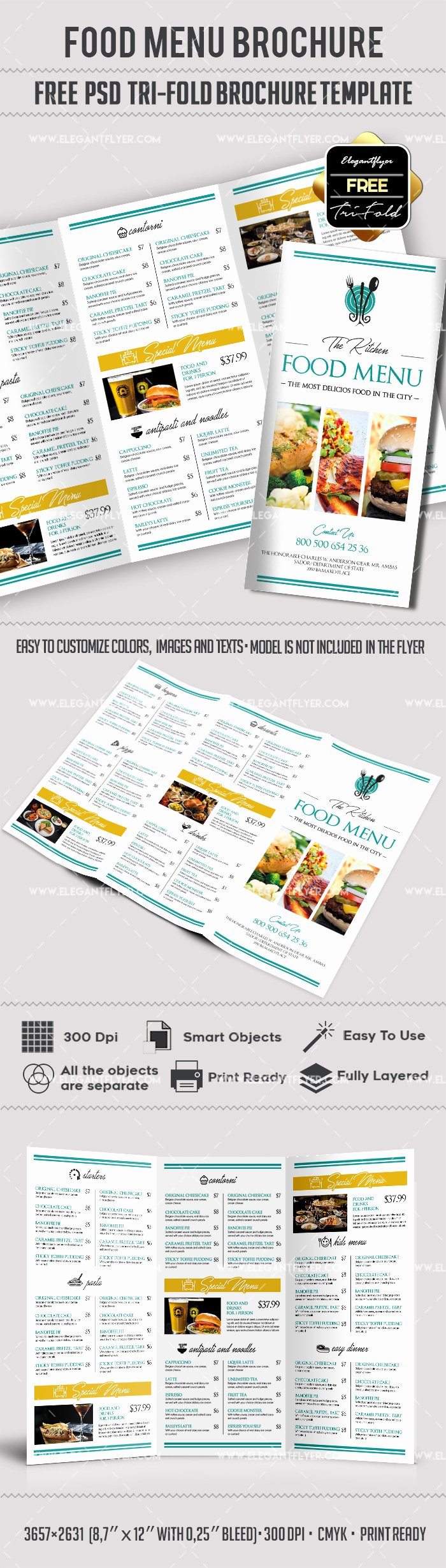 Free – Food Menu Tri Fold Psd Brochure Template – by