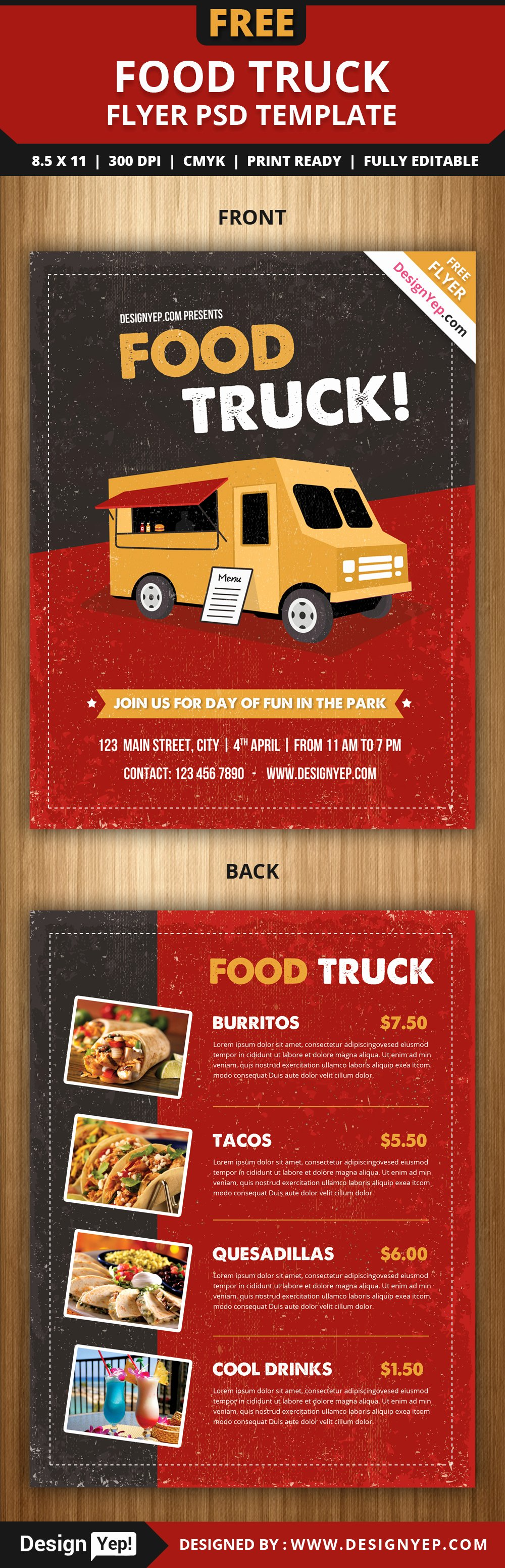 Free Food Truck Flyer Psd Template Designyep