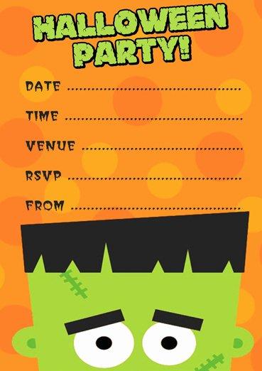 Free Frankenstein Halloween Party Invitation Template