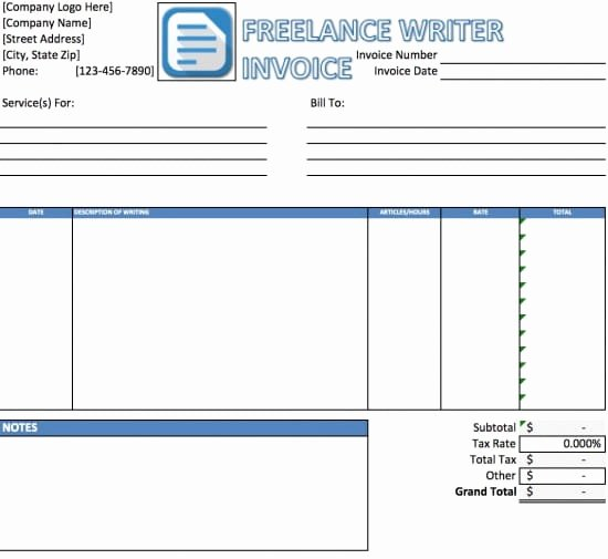 Free Freelance Writer Invoice Template Excel
