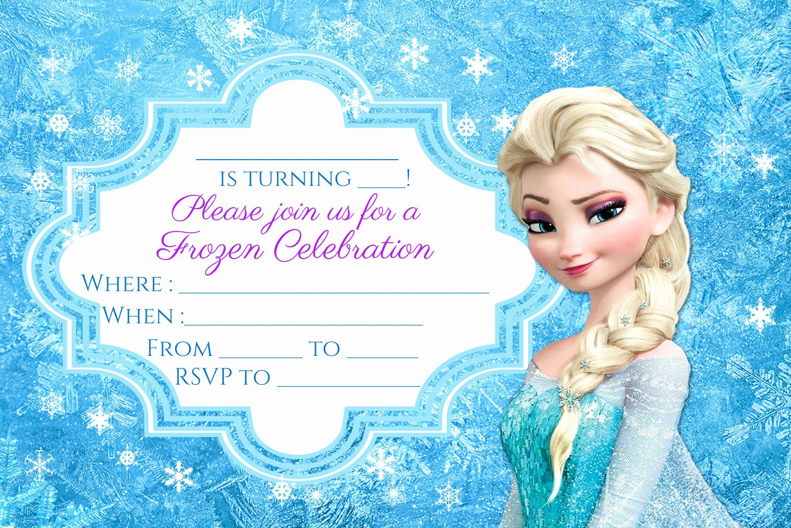Free Frozen Party Invitation Instant Download