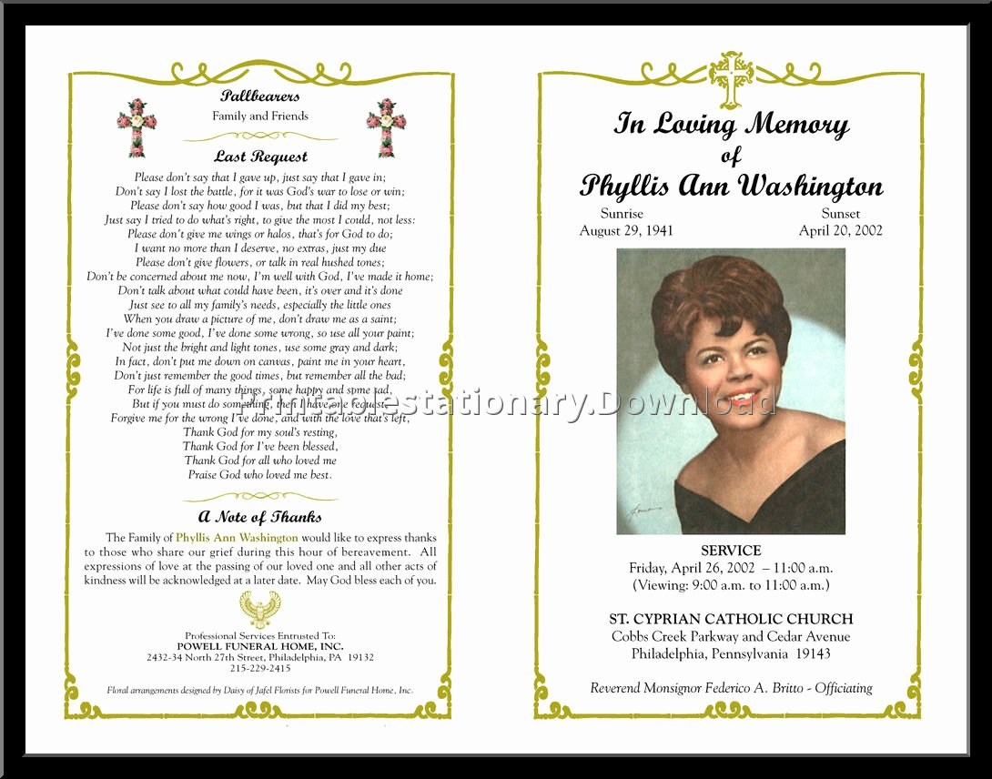 Free Funeral Program Template