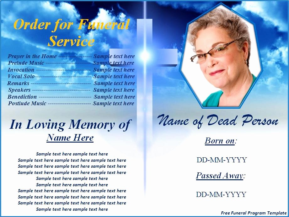 Free Funeral Program Template Word Excel formats