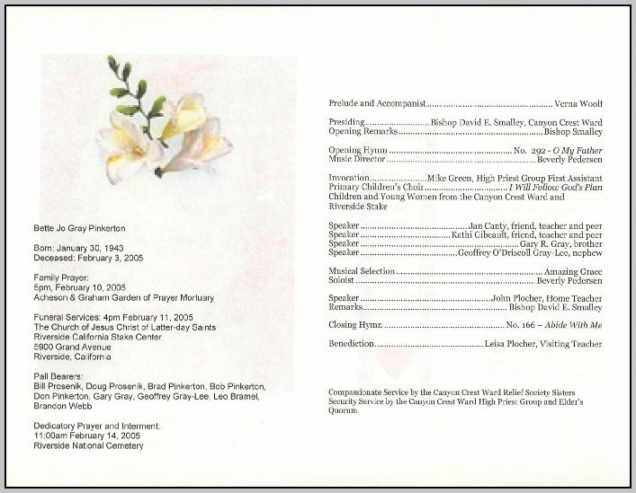 Free Funeral Service Program Template Download Template