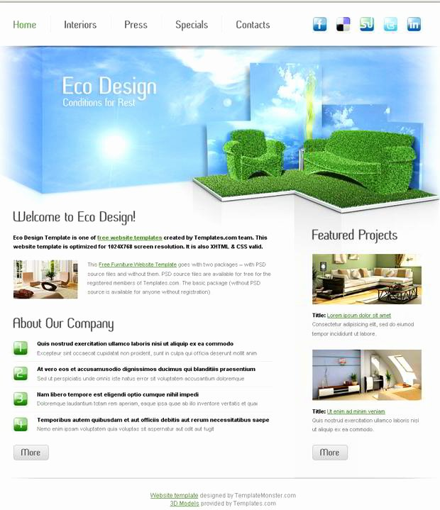 Free Furniture Website Template for Eco Design Pany