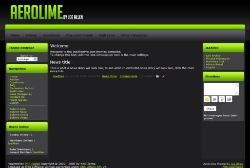 Free Fusion Lime Green Black theme Template