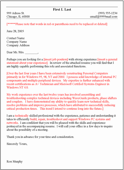 Free General Cover Letter Template