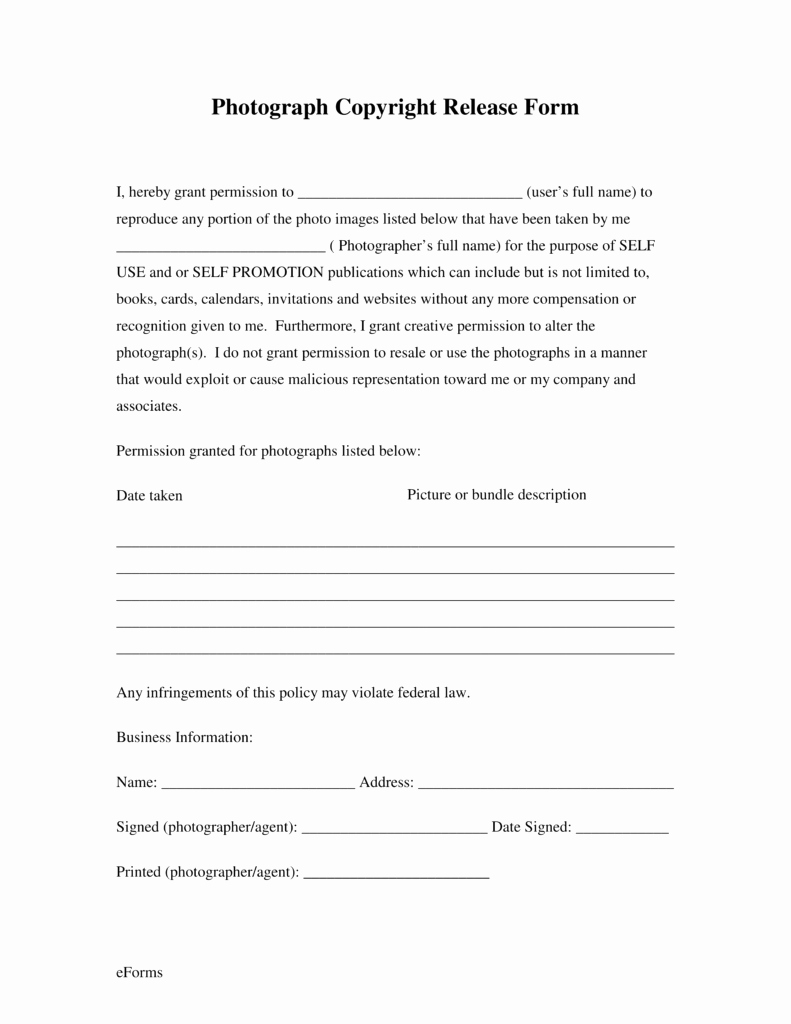 Free Generic Copyright Release form Pdf