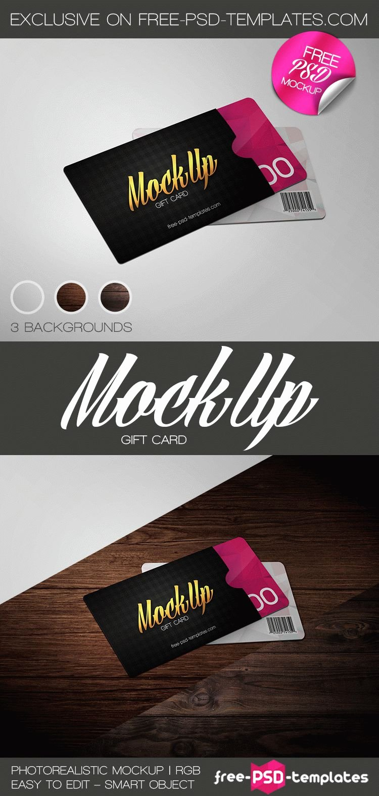 Free Gift Card Mock Up In Psd