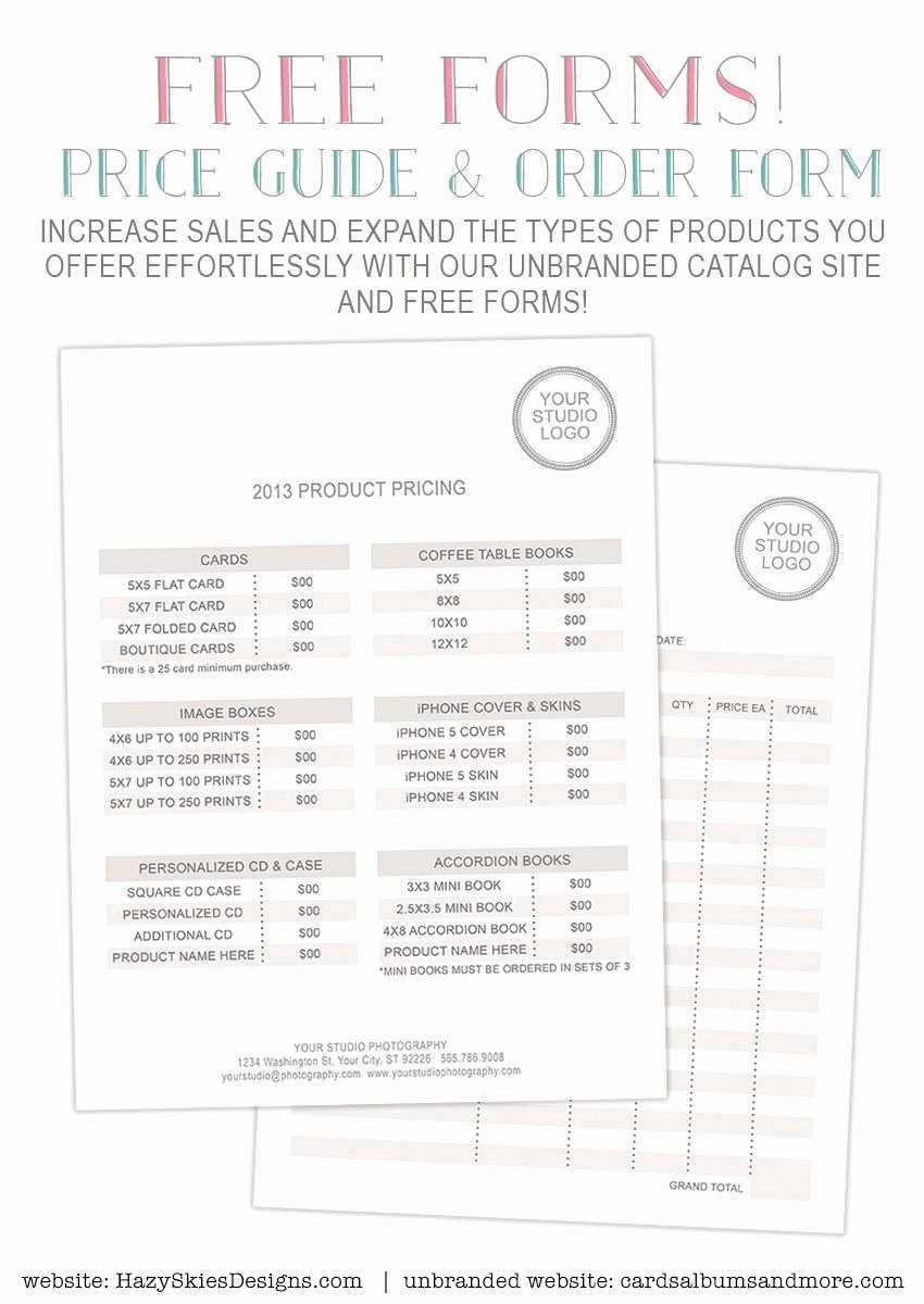 Free Graphy forms Pricing Guide and order form
